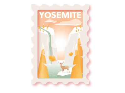 yosemite illustrator scenic waterfall river deer wilderness stamps stamp design park badge wild yosemite national park stamp vector illustration flat design