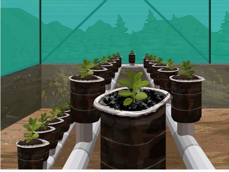 Tecnología solar, mesa de trabajo planet plants sembrar naturaleza ilustración digital
