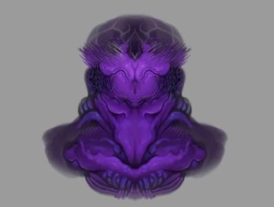 Creature green horns design monster plant natural méxico digital ink illustration krotalon