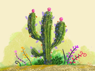 Cactus krotalon digital ink méxico nature design plant natural illustration cactus