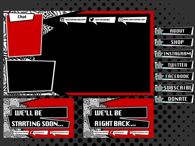 Persona 5 Twitch Theme Overview design style branding twitch graphic design