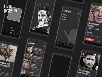 Concept of the App for Illusion Art Museum in Prague ui design product design concept illusions art museum mp4 animation lark dark android application mobile ui simple