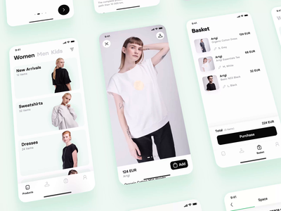 Byssus App | Overview app application ios overview sale prototype affter effects animation interactions ui mobile app mobile clothes e-commerce slow fashion ethical brands environment fashion sustainbale