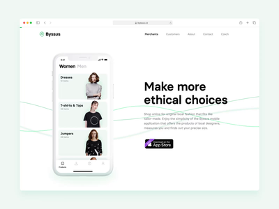 Byssus   Landing Page Concept video affter effects clothes fashion sustainable landing page web website