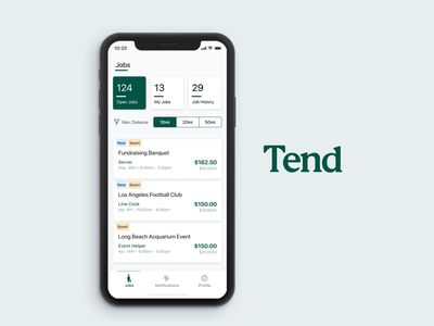 Tenders App (Gigs for hospitality professionals) figma mobile design mobile app