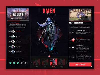 Valorant - Agent Selection Redesign uxdesign product design interface gaming design app ux ui esports valorant