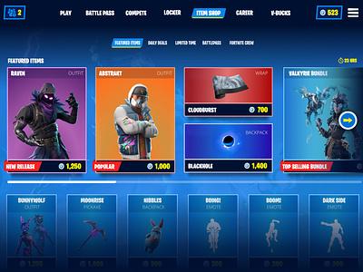 Fortnite Item Shop Design esports fortnite gaming design ux ui