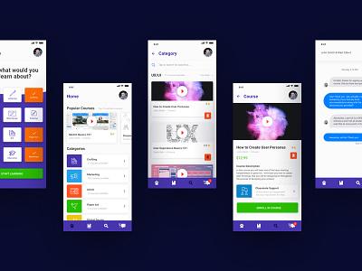 Online Course Concept education courses online interface user app mobile web ux ui