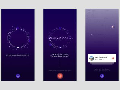 Voice UX/UI AI Concept mobile illustration web app flinto simple product design ux ui voice recognition voice assistant voice search voice motion map interface ai after effects animation 3d