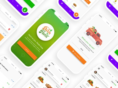 Farm Fresh - Online Grocery Ordering ecommerce organic online shopping online grocery shopping groceries product design illustration mobile design app ux ui