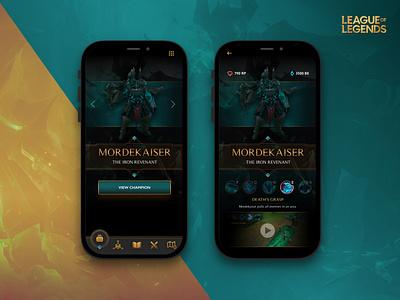 League of Legends App Concept dark ui character moba app gamedesign riotgames product design branding interface design ui ux mobile app design leagueoflegends champions esports gaming game mobile
