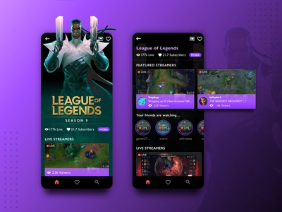 Streaming App illustration design mobile twitch dark theme dark ui product design ux ui app game gaming esports streamers streaming moba riot games league of legends