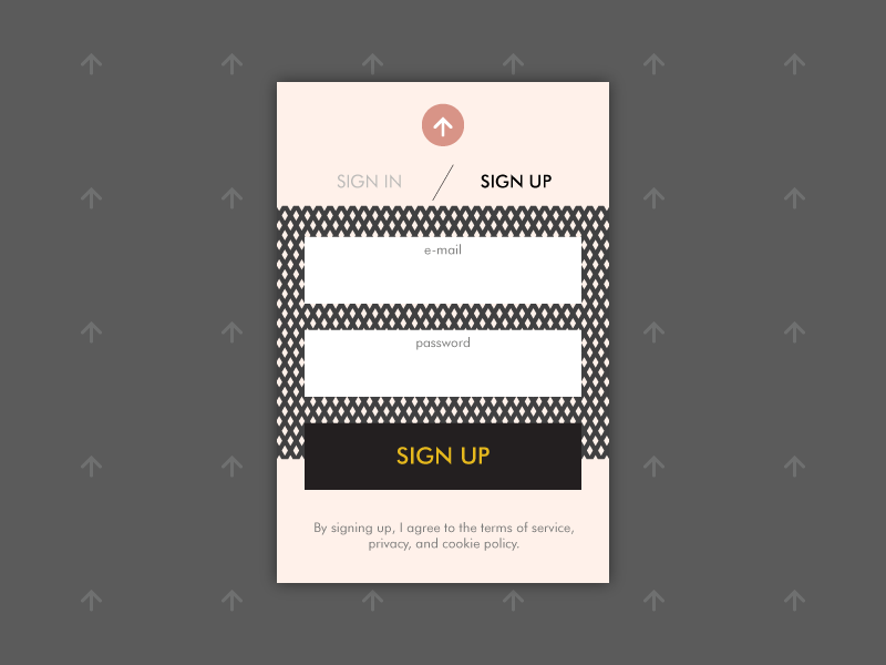 Sign Up - DailyUI 001 simple contrast patterns ui dailyui