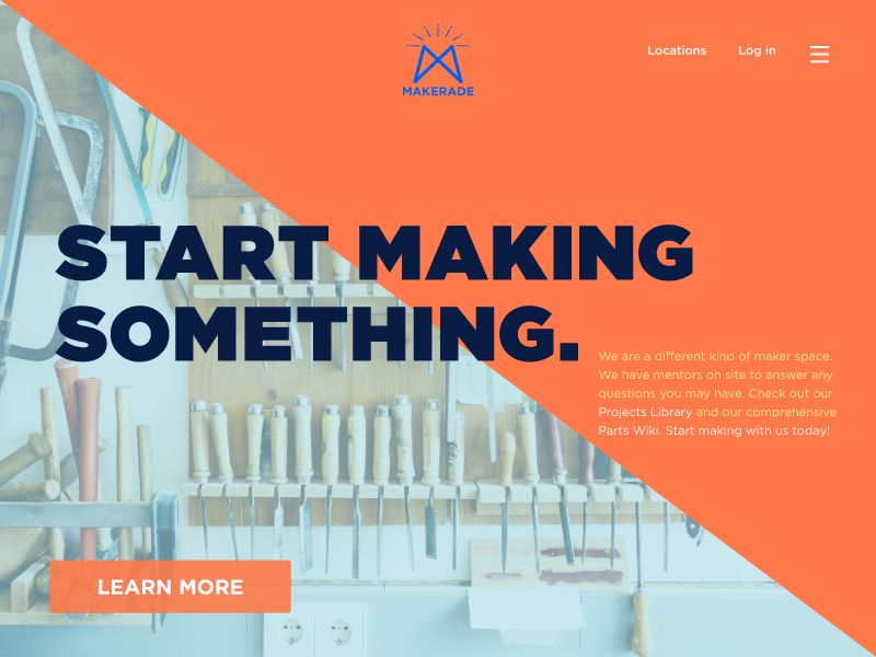 Landing Page - Daily UI 003 dailyui logo geometrical tools maker industrial landing page
