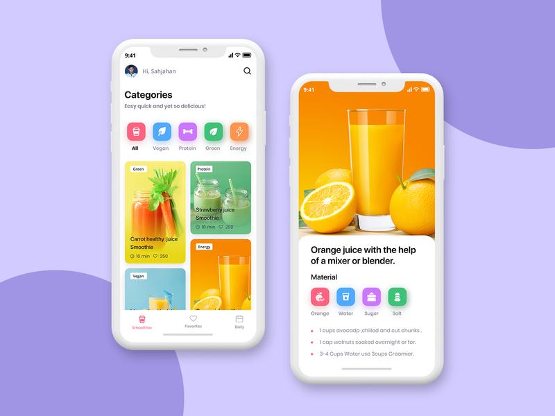 iOS Recipe App UI Design mobile app color clean clean design ui uiux app
