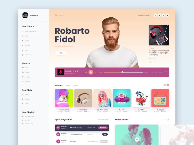 Music UI Desktop Design playlist event site menu news video ui  ux visual spotify songs player music itunes interface futuristic flat clean colors apple app albums