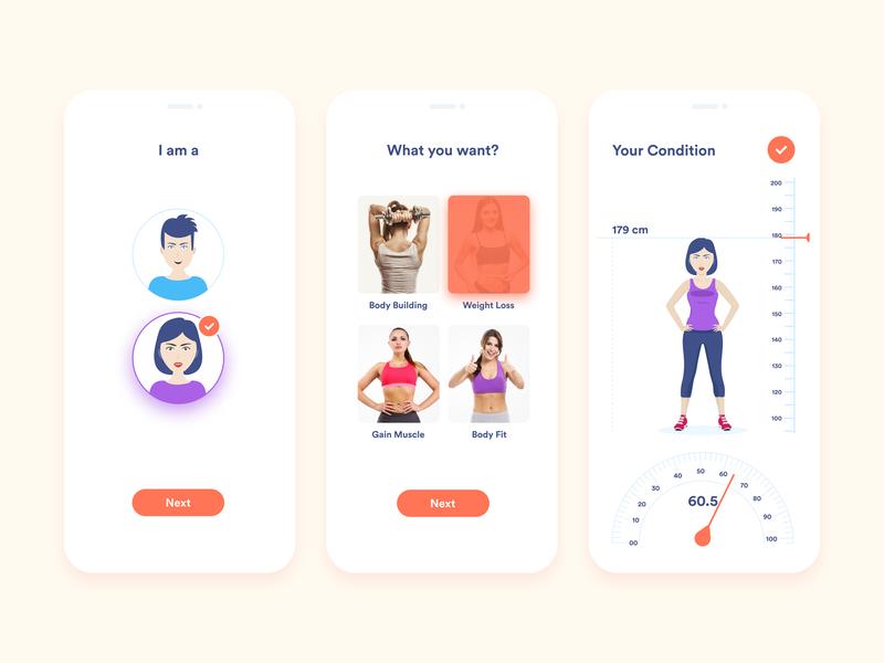 Fitness Guide Mobile App figma plan meal ios health app health body building body builder scale figure dieter diet ui concert clean design color