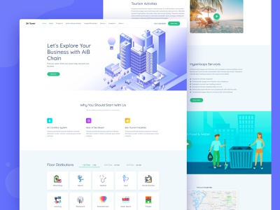 Space Sale || Landing Page illustration clean landing page clean landing page concept landing design landing page construsion building company building blocks space building