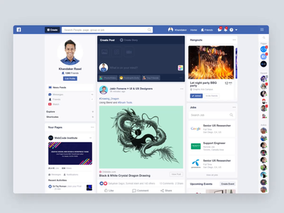 Facebook Redesign Concept newsfeed create post post profile uiux design uiux u ui landing facebook re-design social website messege app event hangouts chatting chat facebook post facebook
