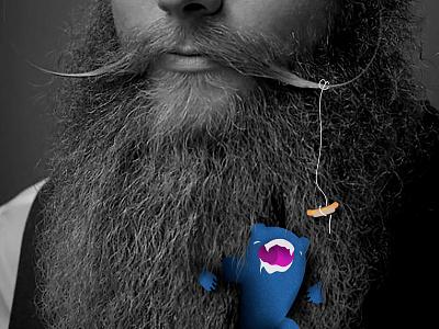 Beardy Monster One digital illustration illustration beards hotdog beard monster