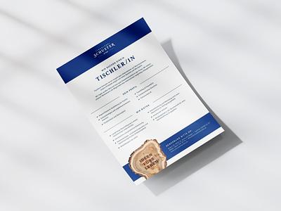 Tischlerei Schuster Job offer holz wood corporate design cd ci branding print tischler tischlerei carpenter stelleninserat job offer