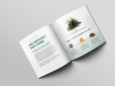 Zirbelle Folder typography natural cosmetics print layout editorial zirbelle folder