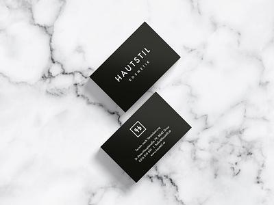 Hautstil Business Cards minimalism black beauty cosmetic marble logo cd ci branding visitenkarten business cards