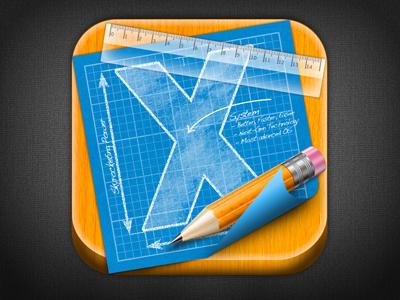 OSX Developer Board App Icon Draft #2 ios osx developer board app icon ruler pencil blueprint wood iphone blue yellow orange transparency plastic glass white