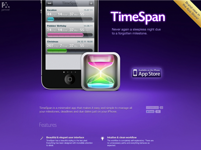 TimeSpan App Page reminder countdown due date calendar milestone deadline event meeting time schedule timer iphone app