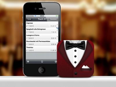 Dinner for One dinner lunch restaurant waiter butler tuxedo bow tie shirt icon app ui interface iphone ios