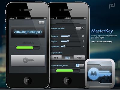 Masterkey UI industrial dark interface tech circuit grid key generator password ui ios