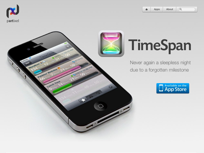 TimeSpan Site Relaunch app presentation web site website onepage page iphone clean