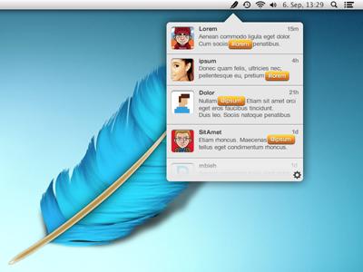 Feather.app UI ui twitter search menu bar app feather blue osx bird mac