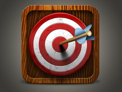 Target iOS App Icon icon ios app interface ui arrow target iphone wood vintage red white brown texture
