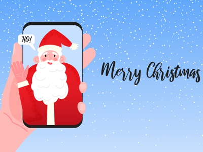 Video call from Santa illustration christmas card santa hat hat ear smartphone mobile red happy holidays happy new year merry christmas winter snow greeting card greeting chat videocall christmas santaclaus