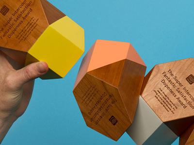 Fantastic Satisfaction Awards intercom type color wood trophies