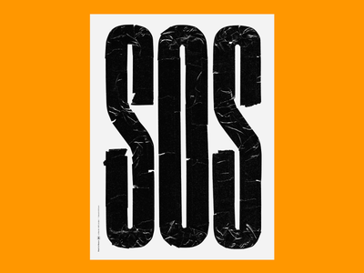 SOS - Beacon Relief sos tape typography disaster benefit poster