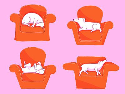 Nap time pink orange digital art dog flat illustration procreate illustration for motion digital illustration illustration