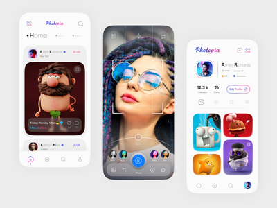 Photopia - Social Media App ios instagram design light clean minimal search chat free uidesign app trend figma modern mobile ux ui social media social