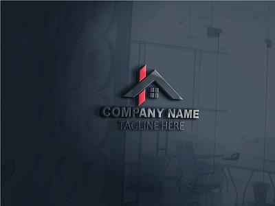 Simple House Real Estate Logo graphic illustration logo design
