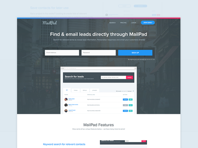 MailPad Landing Page homepage home page home ui home interface landing interface email generation find customers gradient ui