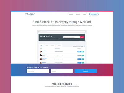 MailPad Landing Page | Version 2 white home white interface minimalism home ui home interface landing interface email generation find customers gradient ui