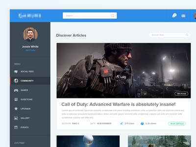 Article Layout | Web Interface gaming articles article page gaming interface