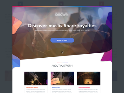 Music Platform | Prelaunch music homepage music music discover music design music platform music layout prelaunch design geometric ui geometric interface prelaunch ui