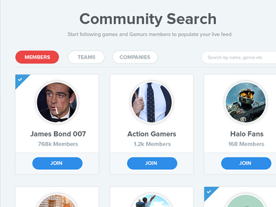Search Cards | Gamurs gamurs search page search interface gaming interface gaming profile gaming ux