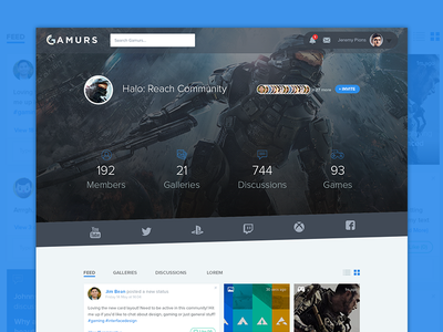 Community Page | Updated gaming ux feed ux community ui profile ui feed profile feed ui gaming ui gaming