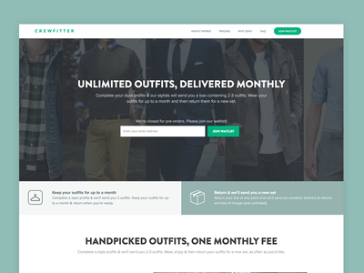 Crewfitter | Updated UI homepage design fashion design startup interface fashion ui fashion ux landing page ux landing ui landing page home ui home