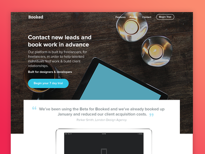 Freelancer Landing Page | WIP clean interface clean layout uk startup freelancer landing page leads peach gradient ui ux freelance freelancer