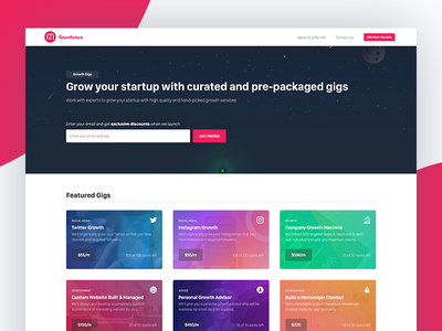 Growthstore Homepage marketing gigs homepage colourful homepage ios ios 11 colourful pink growth hacking growth marketing