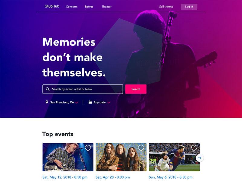 StubHub - Homescreen concept web design ux ui